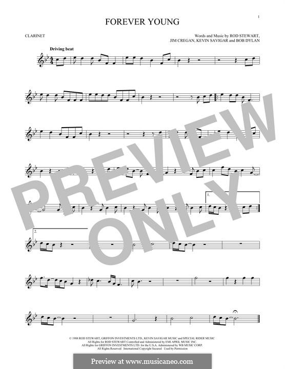 Forever Young II: For clarinet by Bob Dylan, Jim Cregan, Kevin Savigar, Rod Stewart