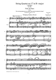 String Quartet No.17 in B Flat Major 'Hunt' , K.458: Arrangement for flute and piano by Wolfgang Amadeus Mozart