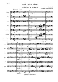 Hoch soll er leben (Long may he prosper): For flute choir (piccolo, three flutes, alto, bass and contrabass flutes) by folklore