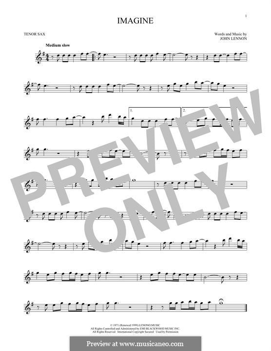 Imagine: For tenor saxophone by John Lennon