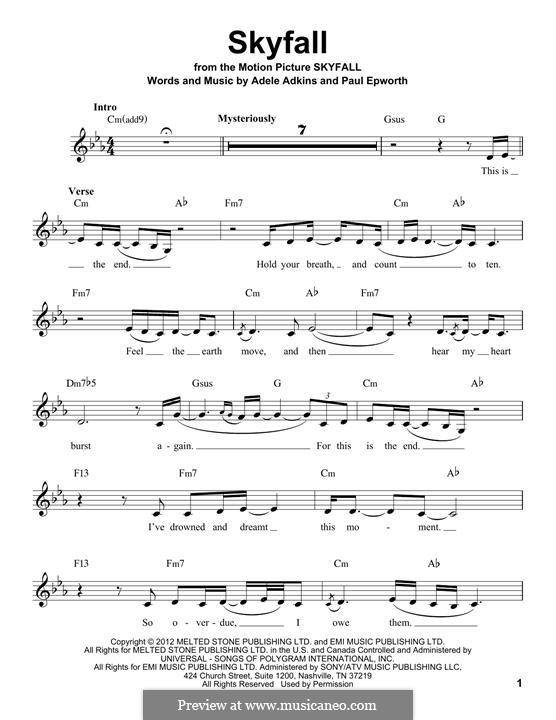 Skyfall by Adele, P. Epworth - sheet music on MusicaNeo