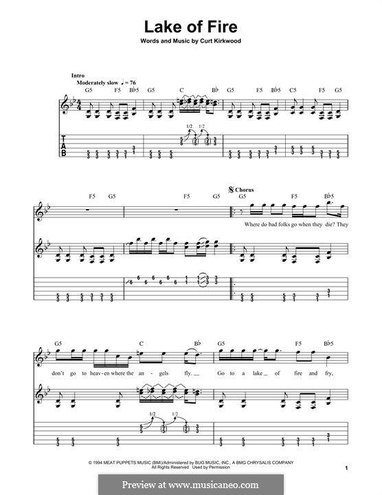 Lake of Fire (Nirvana): For guitar with tab by Curt Kirkwood