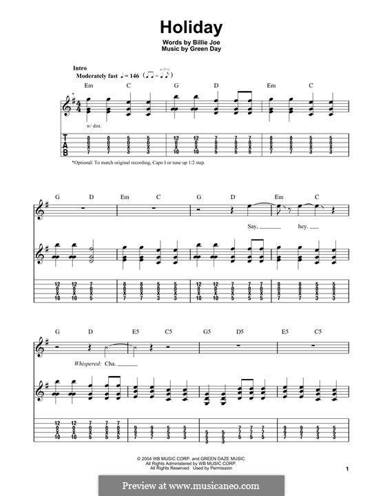 Holiday (Green Day): For guitar with tab by Billie Joe Armstrong, Tré Cool, Michael Pritchard
