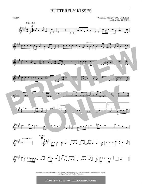Butterfly Kisses: For violin by Randy Thomas