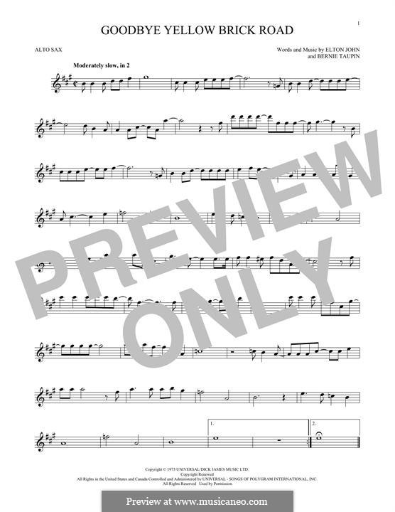 Goodbye Yellow Brick Road: For alto saxophone by Elton John
