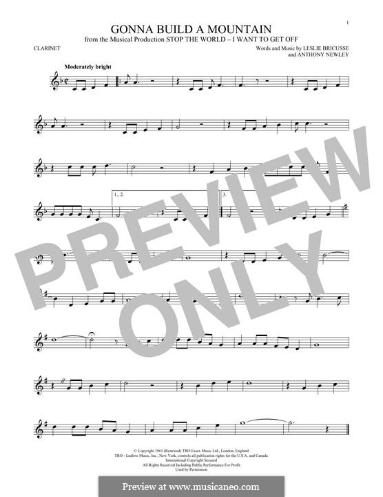 Gonna Build a Mountain: For clarinet by Anthony Newley