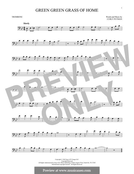Green Green Grass of Home: For trombone by Curly Putman