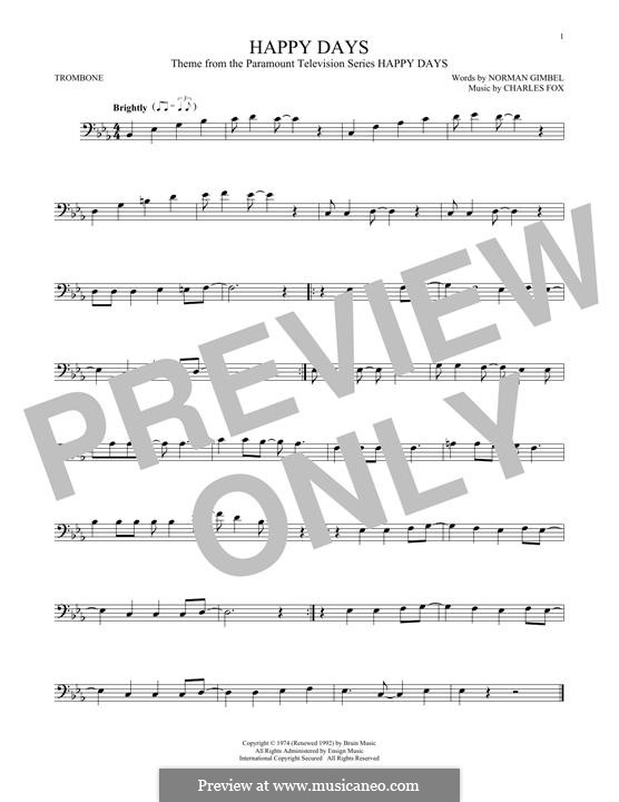 Happy Days: For trombone by Charles Fox