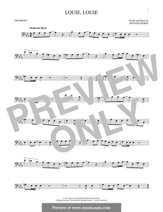 Louie, Louie (The Kingsmen): For trombone by Richard Berry