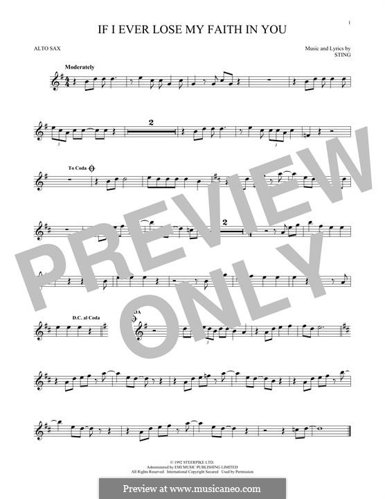 If I Ever Lose My Faith in You: For alto saxophone by Sting