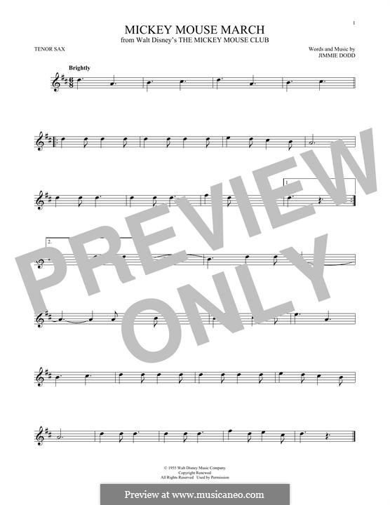 Mickey Mouse March: For tenor saxophone by Jimmie Dodd