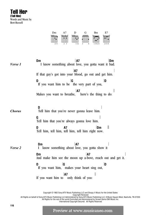Tell Her (Tell Him): Lyrics and chords by Bert Russell