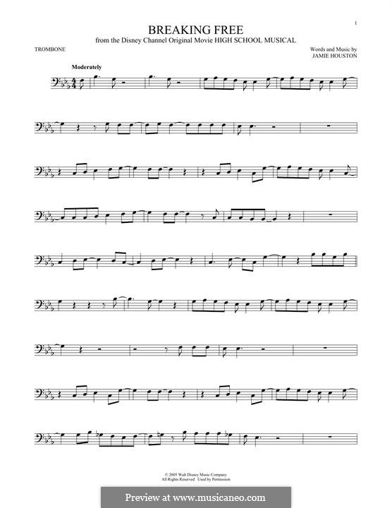 Breaking Free (from High School Musical): For trombone by Jamie Houston