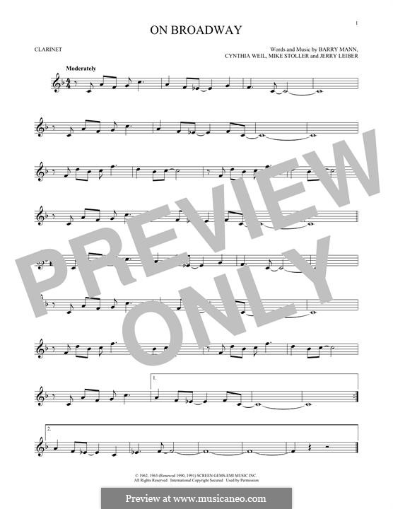 On Broadway (The Drifters): For clarinet by Barry Mann, Cynthia Weil, Jerry Leiber, Mike Stoller