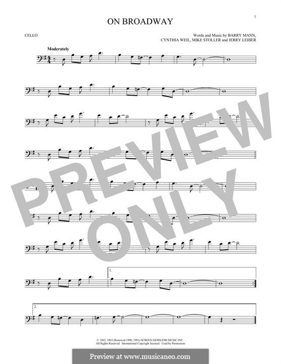 On Broadway (The Drifters): For cello by Barry Mann, Cynthia Weil, Jerry Leiber, Mike Stoller