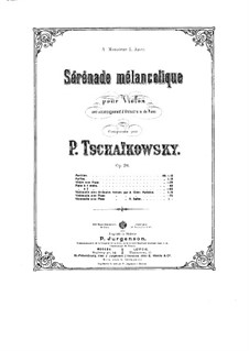 Sérénade mélancolique, TH 56 Op.26: Score for violin and piano, solo part by Pyotr Tchaikovsky