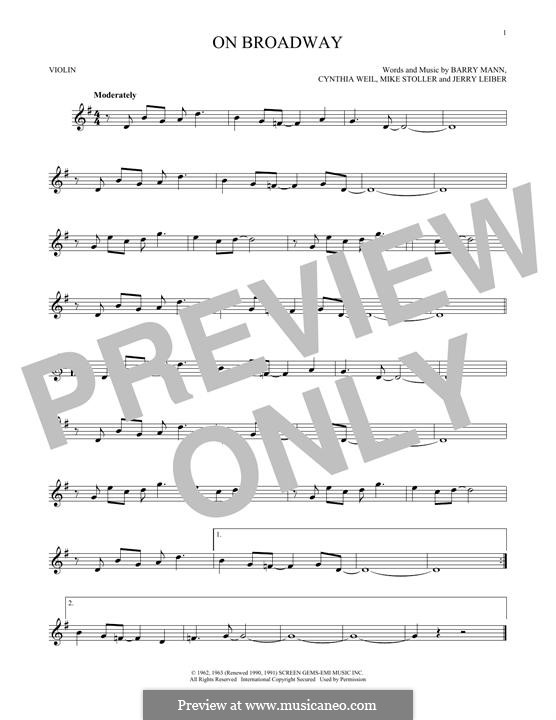 On Broadway (The Drifters): For violin by Barry Mann, Cynthia Weil, Jerry Leiber, Mike Stoller
