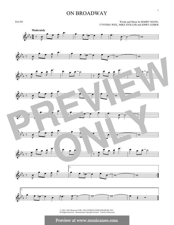 On Broadway (The Drifters): For flute by Barry Mann, Cynthia Weil, Jerry Leiber, Mike Stoller