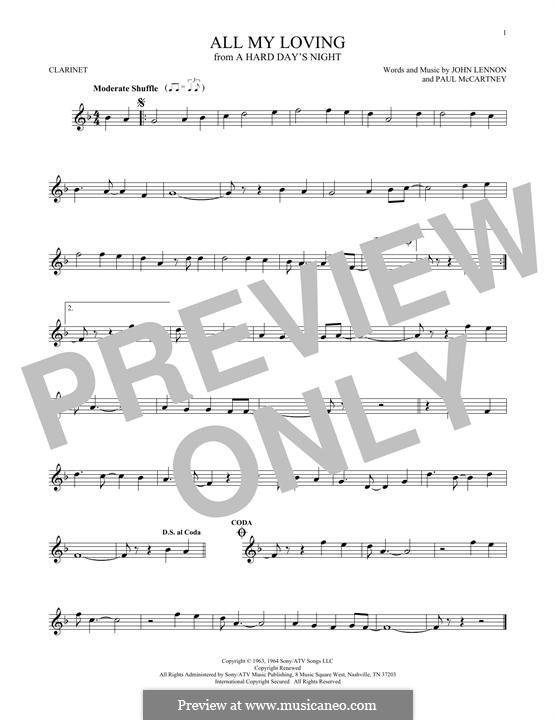 All My Loving (The Beatles): For clarinet by John Lennon, Paul McCartney