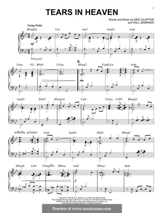 Tears in Heaven: For piano (B Flat Major) by Eric Clapton, Will Jennings