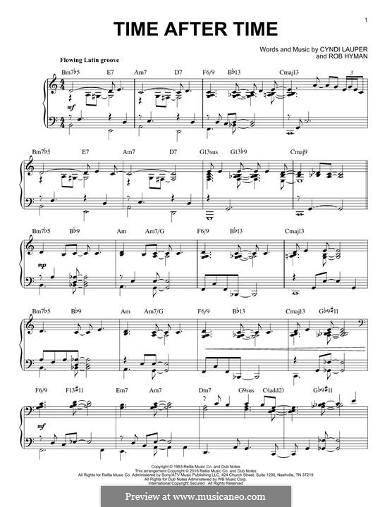 Time after Time: For piano by Cyndi Lauper, Robert Hyman