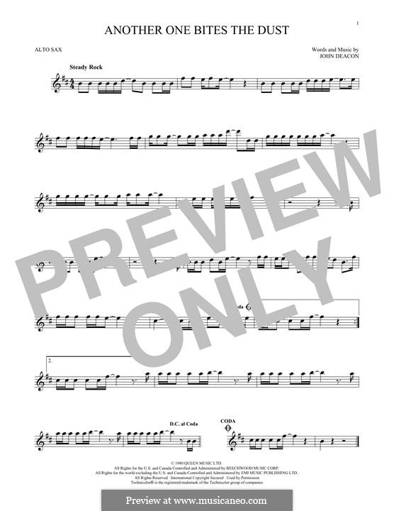 Another One Bites the Dust (Queen): For alto saxophone by John Deacon