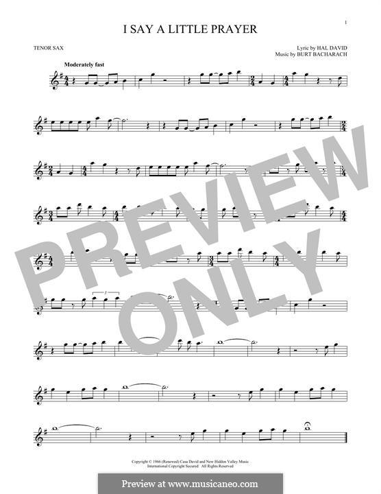 I Say a Little Prayer: For tenor saxophone by Burt Bacharach