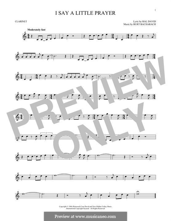 I Say a Little Prayer: For clarinet by Burt Bacharach