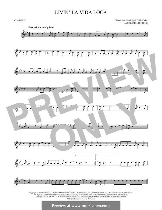 Livin' la vida loca (Ricky Martin): For clarinet by Desmond Child, Robi Rosa