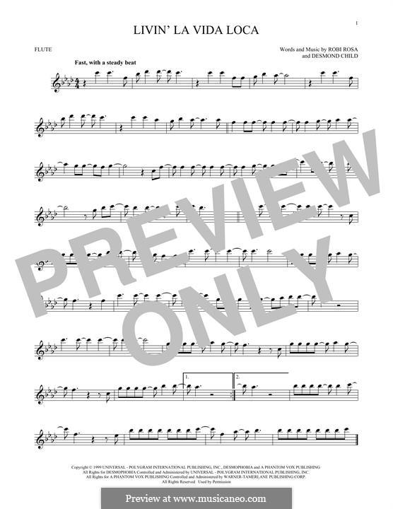 Livin' la vida loca (Ricky Martin): For flute by Desmond Child, Robi Rosa