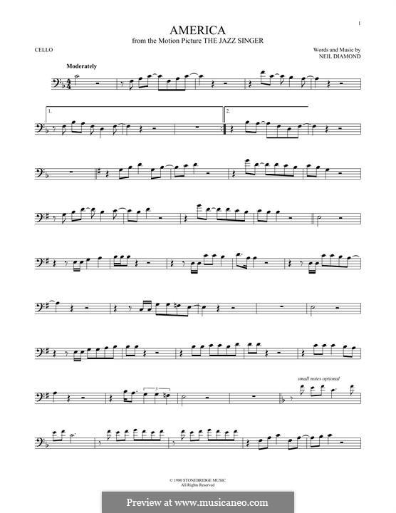 America: For cello by Neil Diamond