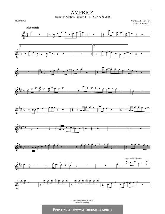 America: For alto saxophone by Neil Diamond