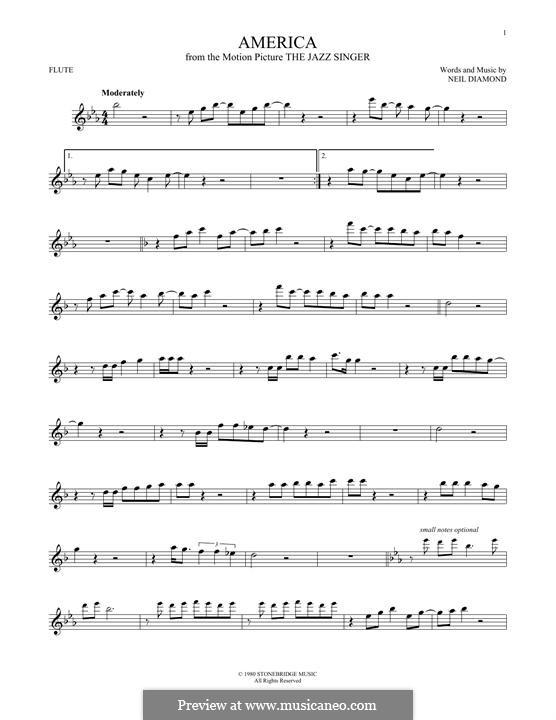 America: For flute by Neil Diamond