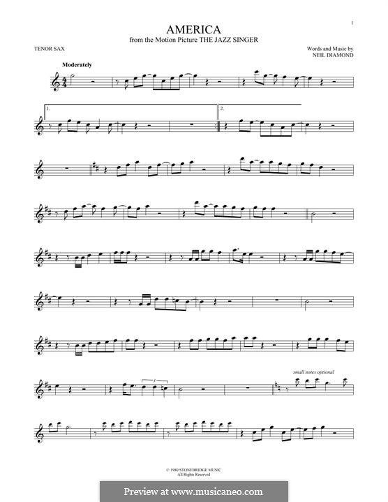 America: For tenor saxophone by Neil Diamond