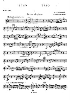 Piano Trio 'In Memory of a Great Artist', TH 117 Op.50: Violin part by Pyotr Tchaikovsky