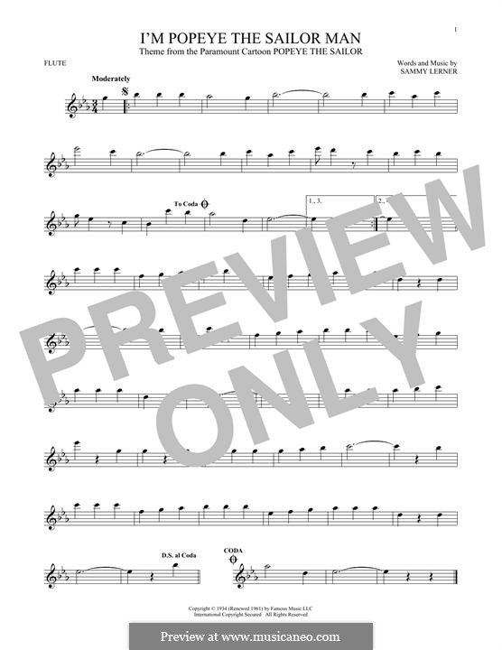 I'm Popeye the Sailor Man (from the Paramount Cartoon Popeye the Sailor): For flute by Sammy Lerner