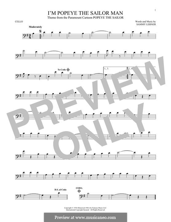 I'm Popeye the Sailor Man (from the Paramount Cartoon Popeye the Sailor): For cello by Sammy Lerner