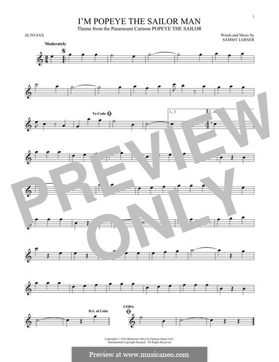 I'm Popeye the Sailor Man (from the Paramount Cartoon Popeye the Sailor): For alto saxophone by Sammy Lerner