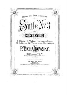 Suite No.3 in G Major, TH 33 Op.55: For piano four hands by Pyotr Tchaikovsky