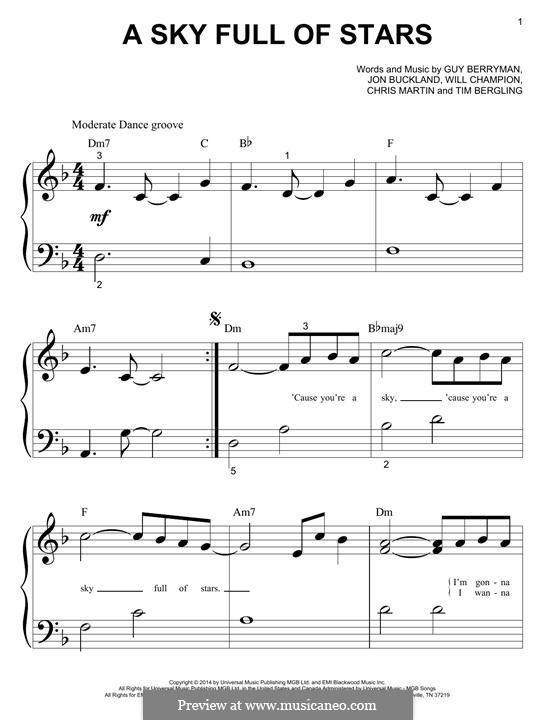 A Sky Full of Stars (Coldplay): For easy piano by Chris Martin, Guy Berryman, Jonny Buckland, Avicii, Will Champion