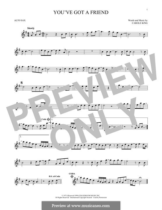You've Got a Friend: For alto saxophone by Carole King