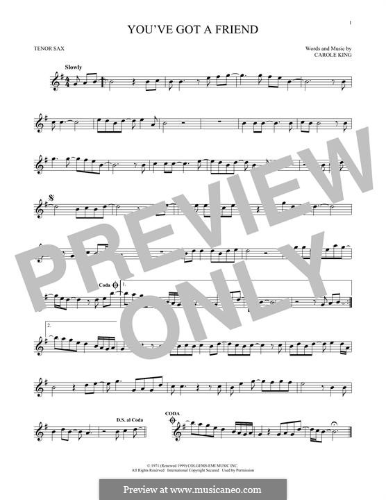 You've Got a Friend: For tenor saxophone by Carole King