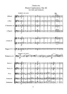 Pezzo Capriccioso for Cello and Orchesrta, TH 62 Op.62: Full score by Pyotr Tchaikovsky