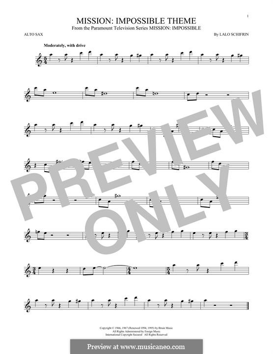 Mission: Impossible Theme: For alto saxophone by Lalo Schifrin
