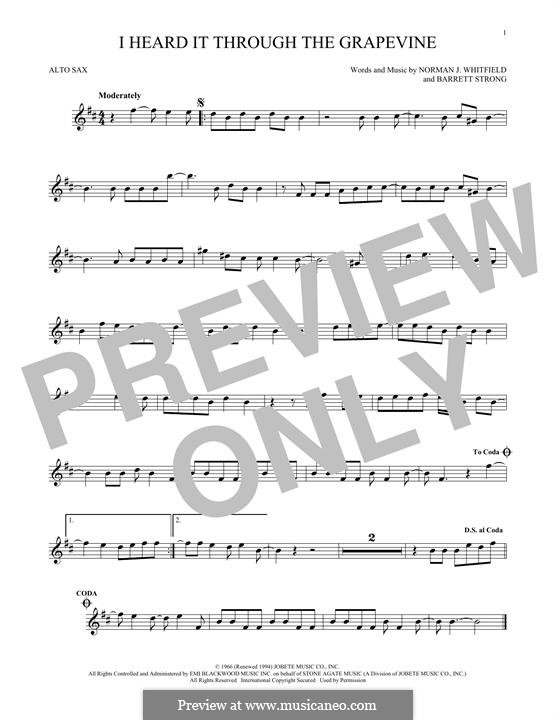 I Heard it Through the Grapevine: For alto saxophone by Barrett Strong, Norman J. Whitfield