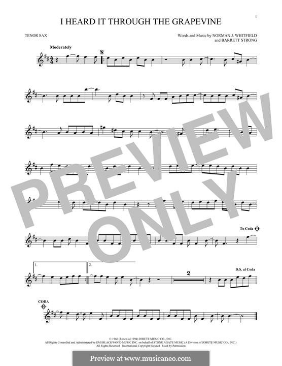 I Heard it Through the Grapevine: For tenor saxophone by Barrett Strong, Norman J. Whitfield