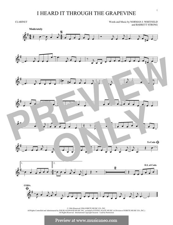 I Heard it Through the Grapevine: For clarinet by Barrett Strong, Norman J. Whitfield