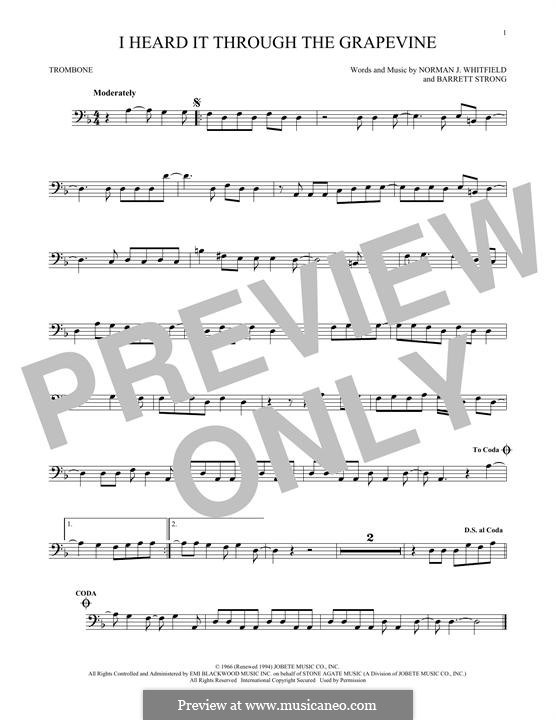 I Heard it Through the Grapevine: For trombone by Barrett Strong, Norman J. Whitfield