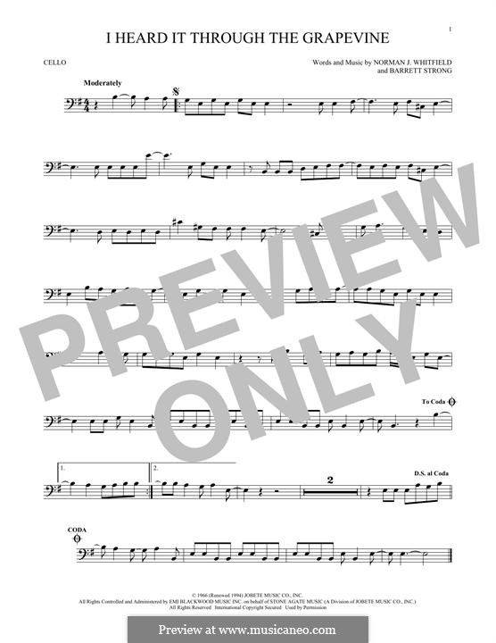 I Heard it Through the Grapevine: For cello by Barrett Strong, Norman J. Whitfield