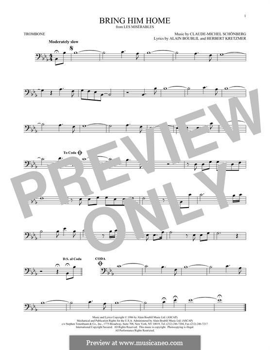 Bring Him Home: For trombone by Claude-Michel Schönberg